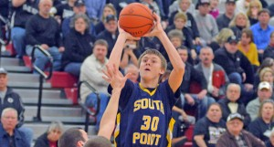 South Point's Brandon Barnes hits a 3-pointer as he scores against Oak Hill. Barnes had 18 points but the Pointers fell 49-43 to the Oaks in the Division III sectional finals. (Kent Sanborn of Southern Ohio Sports Photos.com)