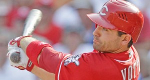Cincinnati Reds' first baseman Joey Votto hit a two-run homer on Monday in a 5-2 win over Milwaukee. Votto said he is progressing from last season' knee injury. (The Ironton Tribune / MCT Direct Photos)