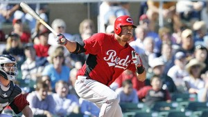 Although he is not expected to make the 25-man Major League roster, irst baseman Donald Lutz has impressed manager Dusty Baker this spring. (Photo Courtesy of the Cincinnati Reds.com)