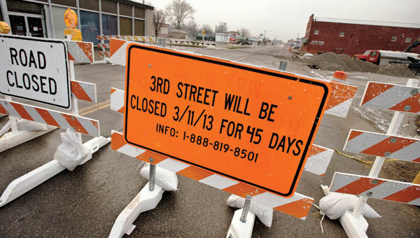Ohio Department of Transportation has closed off part of Third Street, between Adams and Madison streets, because of construction of Ironton-Russell Bridge. Traffic will be detoured around this section of Third Street for 45 days.