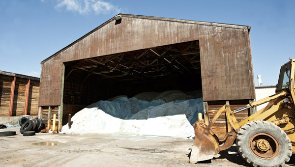 The county's supply of salt for roads is stored in a shed on South Sixth Street in Ironton at the county garage.