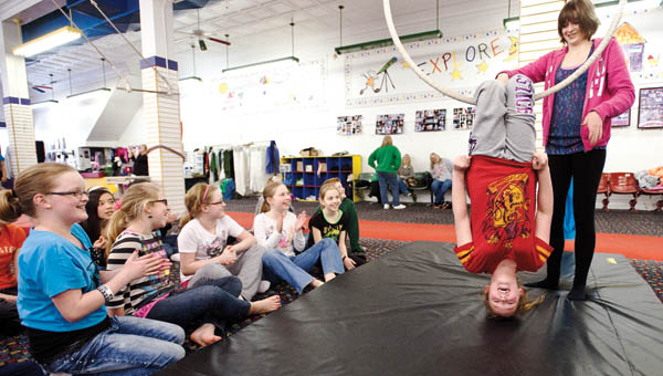 Autumn Thompson works with Lawrence County students in the TAG, talented and gifted, Program during circus workshop with the Portsmouth Art Gallery.