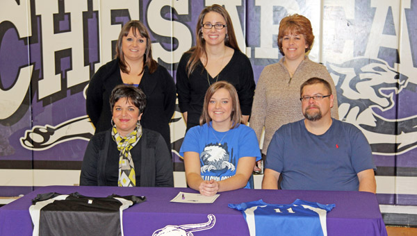 Chesapeake Lady Panthers' senior Macy Allen signed a letter-of-intent to play volleyball at Alice Lloyd College. Attending the signing ceremony were: seated from left to right, mother Gina Allen, Macy, and father Todd Allen; standing from left to right, Alice Lloyd head coach Jolene Watts, Chesapeake assistant coach Cathy Cheek and Lady Panthers' head coach Pam Noble. (Photo Submitted)