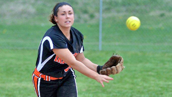 Ironton Lady Fighting Tigers' senior shortstop Rebekkah Potter received a favorable report on her injured knee. (Kent Sanborn of Southern Ohio Sports Photos.com)