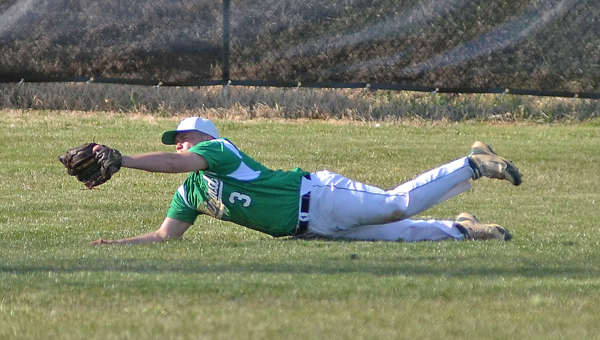 Fairland Dragons' left fielder Josh Ross makes a diving catch during Wednesday's Ohio Valley Conference game at Coal Grove. The Dragons beat the Hornets 8-3. (Kent Sanborn of Southern Ohio Sports Photos.com)