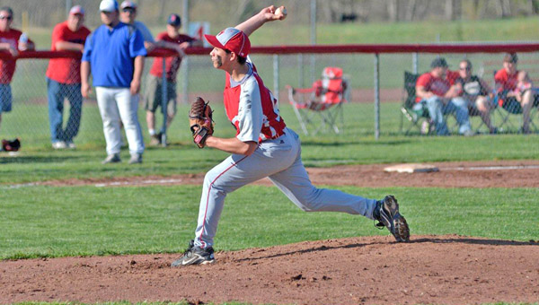 Symmes Valley Vikings' pitcher Trent Thompson threw a one-hitter in a 10-0 win over the Sciotoville East Tartans on Wednesday in a Southern Ohio Conference game. (Kent Sanborn of Southern Ohio Sports Photos.com)