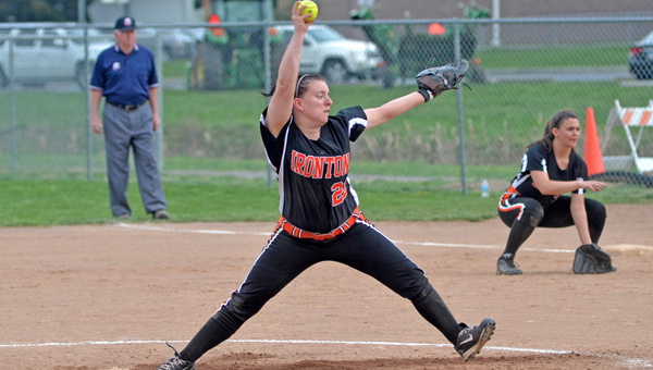 Ironton Lady Fighting Tigers' pitcher Erin Wetzel hurled a four-hitter on Monday in an 8-0 win over the Coal Grove Lady Hornets. (Kent Sanborn of Southern Ohio Sports Photos.com)