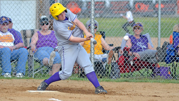 St. Joseph Flyers' Cole Willis connects for a hit. Willis hit two home runs including a grand slam as the Flyers beat the Hannan Wildcats 14-5 on Friday. (Kent Sanborn of Southern Ohio Sports Photos.com)