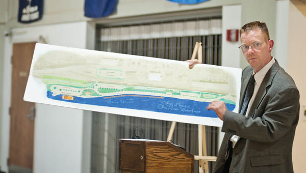 Ironton Mayor Rich Blankenship discusses plans for the Riverfront development project during a press conference Tuesday afternoon.