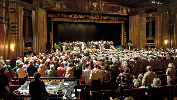 Graduates of Ashland Community & Technical College make their way into the Paramount Arts Center for the 2013 commencement Saturday.