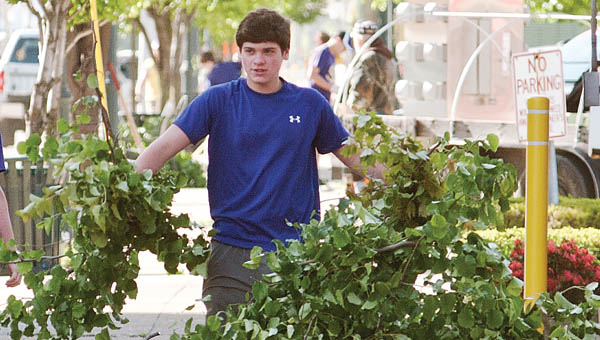 Students from St. Joseph High School were in downtown Ironton to cleanup the during the annual event.