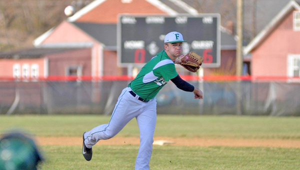 Fairland's Matt Aliff went five innings to get the win as the Dragons blanked Vinton County 4-0 on Monday in the Division II sectional tournament. (Kent Sanborn of Southern Ohio Sports Photos)