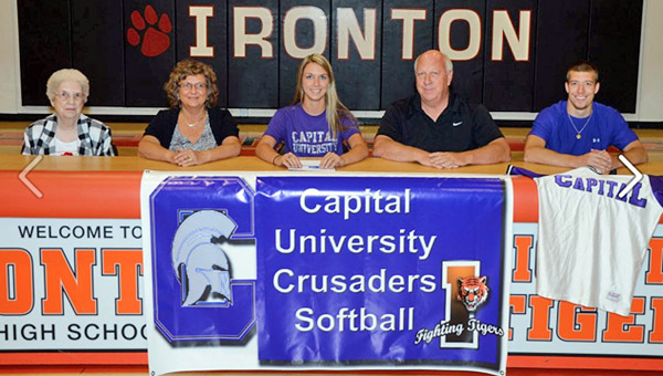 Ironton Lady Fighting Tigers' senior softball standout Andi Kratzenberg signed a letter-of-intent to play at Capital. Attending the ceremony were: seated from left to right, grandmother Julia Murnahan, mother Kathy Kratzenberg, Andi, father Jim Kratzenberg and brother Tyler Kratzenberg. (Kent Sanborn of Southern Ohio Sports Photos)