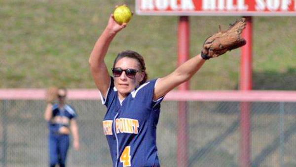 South Point Lady Pointers' pitcher Kaitlyn Brown threw a one-hitter in a 17-0 five-inning win over River Valley on Thursday. (Kent Sanborn of Southern Ohio Sports Photos.com)