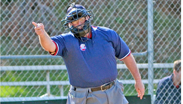 Long-time high school umpire Chuck Delawder called the Green at Symmes Valley baseball game on Wednesday, the final game of his career. Delawder is retiring after 31 years of service to the Ironton chapter. (Kent Sanborn of Southern Ohio Sports Photos)