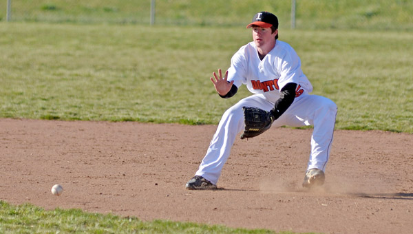 Ironton Fighting Tigers' second baseman Sean Lawless sets up to field a ground ball. Lawless had a hit in a 4-3 win over River Valley in Saturday's second game after five innings in a 1-0 first game win over Chesapeake. (Kent Sanborn of Southern Ohio Sports Photos)