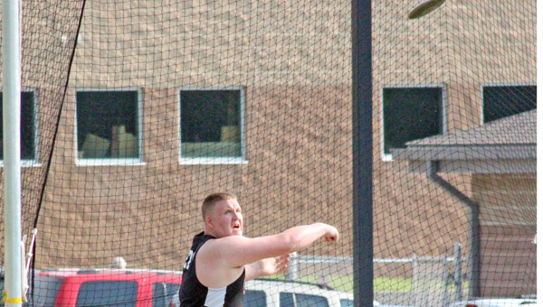 """Coal Grove Hornets' Austen """"Red"""" Pleasants wins the discus event during competition on Friday at the Ohio Valley Conference meet. (Photo Courtesy of Sarah Hawley of The Gallipolis Tribune)"""