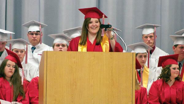 Symmes Valley High School class of 2013 valedictorian Michaela Sheppard begins her speech during the school's commencement program Sunday.