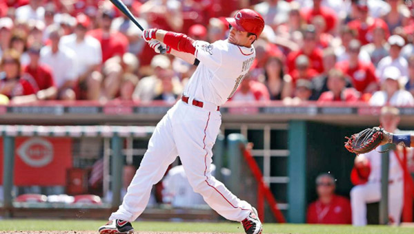 Cincinnati first baseman Joey Votto connects on a two-run homer in the eighth inning that snapped a 2-2 tie and lifted the Reds over the Cleveland Indians 4-2 on Monday. (Photo Courtesy of The Cincinnati Reds.com)