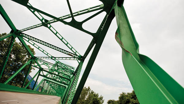 Shown is worst of the visual damage to the Ben Williamson Bridge following a one vehicle incident on May 17. (
