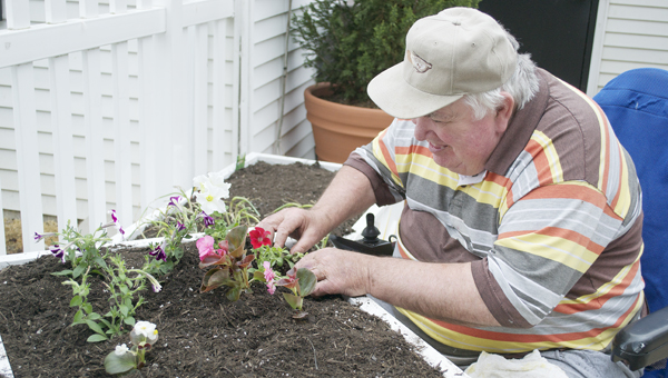 Bethel Caudill, Sunset Nursing Center resident, plants flowers in the center's new garden Monday morning. The garden contains a variety of flowers and vegetables.