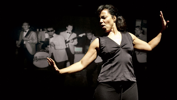 """Mitzi Sinnott rehearses her one women play """"Snapshot"""" at the Francis Booth Experimental Theater on the Marshall University campus."""