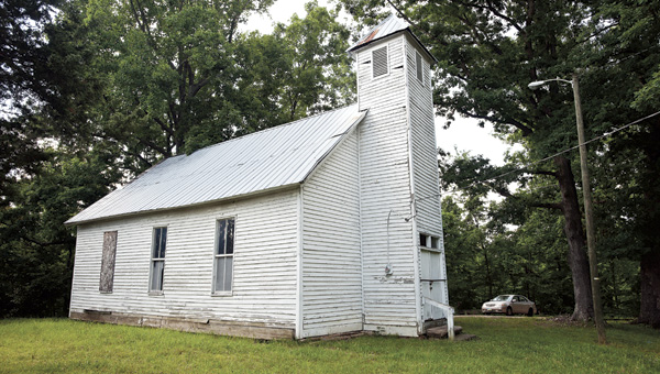 A side view of the Macedonia Missionary Baptist Church shows much needed repair to the old structure that was constructed in 1849.