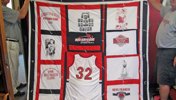 Melvin Carter made a quilt for legendary Rio Grande basketball star Bevo Francis. Carter, a former coach and basketball official, was recently elected to the Ohio High School Basketball Officials' Hall of Fame. (Photo Courtesy of The University of Rio Grande)