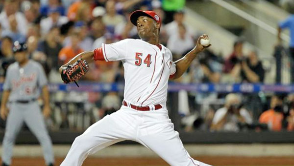 Cincinnati Reds' relief pitcher Aroldis Chapman pitched a scoreless seventh inning during Tuesday's Major League Baseball All-Star Game. Chapman struck out Adam Jones for the final out of the inning. The American League won 3-0 to snap the National League's three-game winning streak. (MCT Direct Photos)