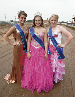 The 2013 Lawrence County Fair Queen's Court. Pictured left to right are Ashton McMackin, second runner up, Skye Barnett, fair queen, Hannah Williams, first runner up.