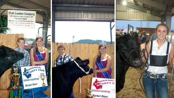 (LEFT) Noah Lambert (left) took the grand champion prize at the market steer show Wednesday at the Lawrence County Fair. Fair Queen Skye Barnett (right) presented Lambert with his trophy. Lambert also won the junior showmanship award, earning him a spot in the showman of showmen contest Friday. (CENTER) Jonathan Kouns stands with Fair Queen Skye Barnett after taking the market steer reserve champion prize. (RIGHT) Ann-Michal Dyer, 15, of South Point, won the senior steer showmanship contest Wednesday evening at the Lawrence County Fair.