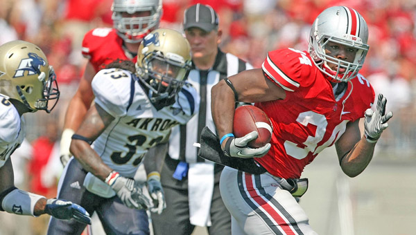 Alleged assault charges against Ohio State suspended running back Carlos Hyde were dropped on Tuesday when the victim decided not to pursue the case. (MCT Direct Photos)
