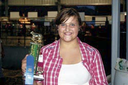 Morgan Klaiber won the showmanship honor in class three for the feeder calves.