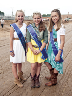 The 2013 Lawrence County Fair Princess' Court. Pictured left to right, Kara Saunders, first runner up, Montana Runnels, fair princess, Cassie Leith, second runner up.