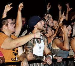 The crowd cheers on Nonpoint Thursday.