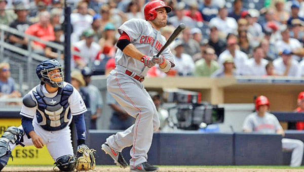 Cincinnati first baseman Joey Votto connects on a two-run double in the seventh inning as the Reds beat San Diego 4-1 on Wednesday to snap a five-game losing streak.  (Photo Courtesy of The Cincinnati Reds)
