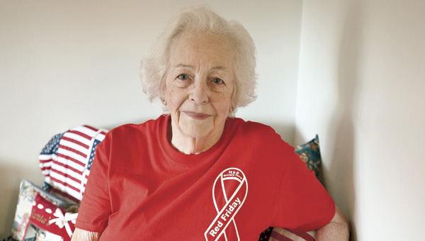 Ironton resident Hilda Davidson, a lover of the red, white and blue, shows off her Red Friday shirt. Hilda is asking area residents to wear red on Fridays in support of the troops.