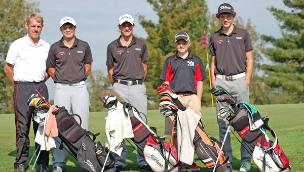 The Coal Grove Hornets' golf team qualified for the Division III district tournament after finishing second as a team Wednesday in the sectional tournament held at Shawnee State Park Golf Course. Brent Morgan shot a 2-under 70 to earn medalist honors for the second straight year and lead the Hornets who shot 361 as a team. West Union won the tournament with a 345 total. The top two teams qualified for the district to be held Wednesday at West Lafayette. Pictured from left to right, Hornets' coach Danny Morgan, Luke McGraw, Brent Morgan, Ryan Malone and Brandon Adkins. McGraw shot a 91, Adkins a 93 and Malone a 107. (Photo Submitted)