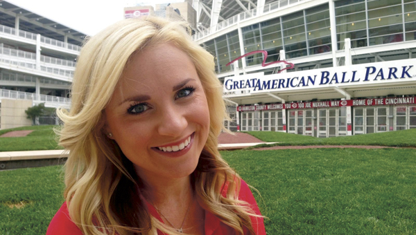 Madison Geswein, an Ironton native and a 2009 St. Joseph High School graduate, is putting her passion for the Cincinnati Reds to work as a member of the Rally Pack. The team of boosters helps keep fans excited and involved at home games.