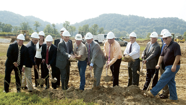 A ceremonial groundbreaking was held Tuesday across from the Lawrence County Fairgrounds for an 87-unit senior living community. Pictured, from left to right, are Scott Shroyer, director of operations for Chancellor Senior Management; Bill Pratt, Lawrence County Commissioner; Stacie Stoll, sales and marketing director for Chancello; Brent Marsteller, president and CEO of Cabell Huntington Hospital; Mike DePaola, Chancellor CFO; Bill Dingus, executive director of the Greater Lawrence County Area Chamber of Commerce; Rob Calloway, site contractor for Wallick Construction; Roger Vincent, president and founder of Chancellor; Freddie Hayes, Lawrence County Commissioner; Les Boggs, Lawrence County Commissioner; Bill Lepper, president of Wallick Construction; Bill Andrews, owner of Andrews Architects; and Tom Kaichner, project manager for Wallick Construction.