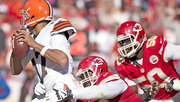 Kansas City Chiefs nose tackle Dontari Poe (92) pressures Cleveland Browns quarterback Jason Campbell (17) in the fourth quarter, Sunday at Arrowhead Stadium in Kansas City, Missouri. The Chiefs won 23-17. (MCT Direct  Photo)