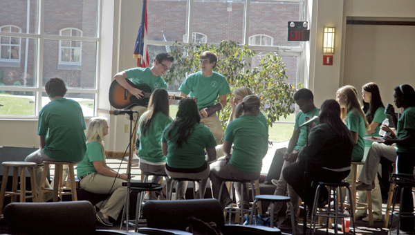 The Ironton High School Varsity Singers performed during the Brown Bag Concert Series at Ohio University Southern on Wednesday. The series concludes next Wednesday with open mic performances.