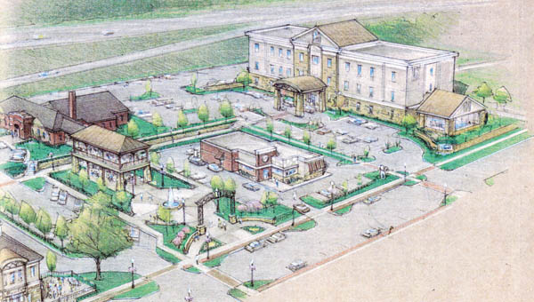 A conceptual drawing of Ninth Street Gateway Development Project.