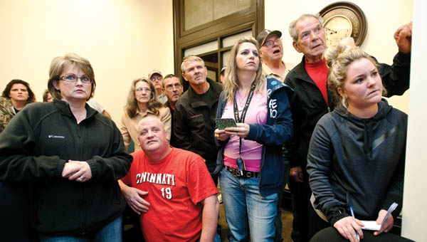 Area residents gather at the Lawrence County Courthouse to view election coverage results.