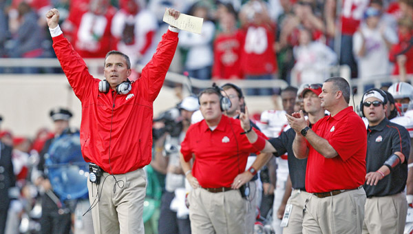 Ohio State head coach Urban Meyer knows his unbeaten Buckeyes need help to get a berth in the BCS national championship game. (MCT Direct Photos)
