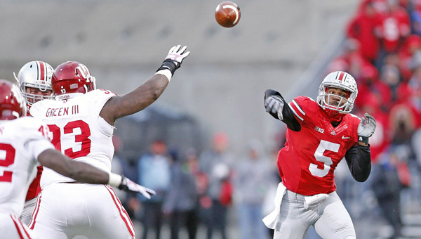 Ohio State Buckeyes' quarterback Braxton Miller (5) throws a pass against Indiana. Ohio State head coach Urban Meyer thinks Miller has a future as an NFL quarterback. (MCT Direct Photos)