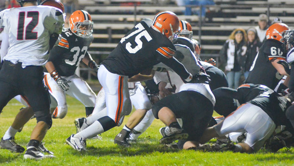 Ironton Fighting Tigers junior tackle Isaac Sherman (75) was a first team all-district selection.A total of 26 area players were named to the district team. (Tony Shotsky of Southern Ohio Sports Photos)