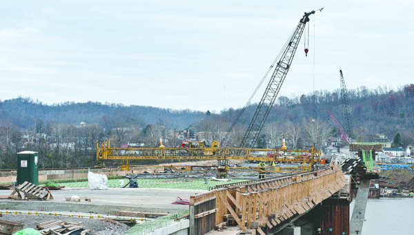 View of the construction of the future Ironton Russell Bridge seen from the Kentucky side.
