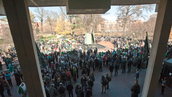 Residents gather on the campus of Marshall University for the annual memorial service honoring those who perished 43 years ago in a plane crash.