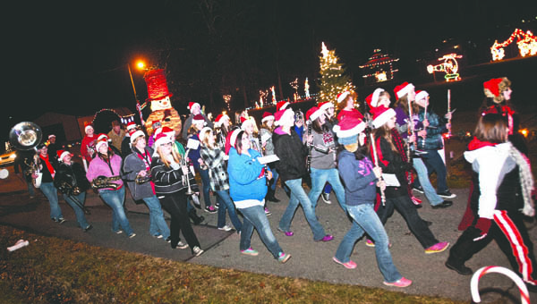 The Dawson-Bryant High School marching bad performs during the annual Coal Grove Christmas parade.